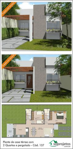 Planta de casa térrea com 2 Quartos e pergolado - Cód. Dream House Plans, Modern House Plans, Small House Plans, Layouts Casa, House Layouts, Sims House, Facade House, House Front, Home Projects