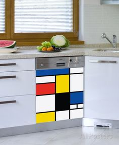 Pop Mondrian Dishwasher Decal Wall Decal at AllPosters.com