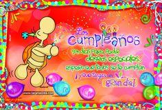 Tortuga Abelardo con cañon de confeti © ZEA www.tarjetaszea.com Happy Birthday, Birthday Cake, Princess Peach, Mandala, Facebook, Instagram, Love Phrases, Have A Great Day, Special Birthday Wishes