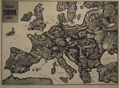 Carte satirique de l'Europe dessinée par E. Zimmermann, Hambourg, 1914. Photo Tim Bryars Ltd