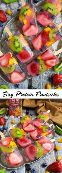 Healthy Snacks For Kids Easy Protein Fruitsicles with Premier Protein Clear Protein Drink - Healthy Protein Snacks, Healthy Treats, Healthy Drinks, Protein Foods, High Protein, Healthy Foods, Protein Smoothies, Protein Pancakes, Skinny Recipes