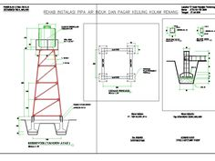 Construction elevated tank high 6 meter (292.03 KB) | Bibliocad Metal Projects, Welding Projects, Water Well Drilling, Steel Water Tanks, Steel Gate Design, Tower Stand, Cad Blocks, Water Storage, Water Tower
