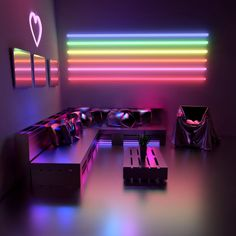 Interior Living Room Design Trends for 2019 - Interior Design Neon Bedroom, Room Decor Bedroom, Led Neon, Retro Room, Video Game Rooms, Gaming Room Setup, Game Room Design, Cute Room Decor, Girl Bedroom Designs