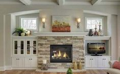 Fireplace Built Ins Fixer Upper double sided fireplace with shelves.Fireplace Built Ins Fixer Upper fireplace diy cases. Craftsman Fireplace, Cottage Fireplace, Farmhouse Fireplace, Home Fireplace, Fireplace Remodel, Living Room With Fireplace, Fireplace Design, Fireplace Ideas, Living Rooms