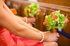 Bridesmaids and their bouquets - orange and lime green
