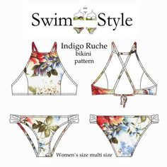 Indigo Ruche Bikini by Swim Style Size XS size 8 to XXXL size 20 Description Indigo Ruche bikini pattern for women. High neck style with ruche detail on bikini briefs. This style is fully lined with optional bra cups inserted between the double layer of front lining. Neckline binding extends into neck straps .This pattern includes a cross over tie back with casing or a back with a clasp to close. Both styles, use the same back pattern piece ,one is simply folded back to form the casing…