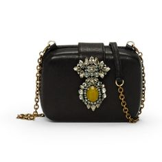 Club Monaco Rada Evening Clutch $399 -   Miniaudiere silhouette. Bejeweled magnetic closure at front. Single interior patch pocket. Detachable antiqued gold-toned chain and leather ...