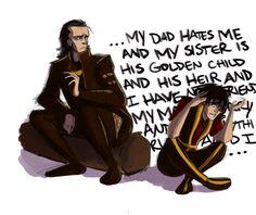 "Princes with daddy issues. Loki and Zuko. By LessienMoonstar on DeviantArt Loki is all ""eh. Avatar Airbender, Avatar Aang, Avatar Funny, Team Avatar, Zuko, The Last Avatar, Sneak Attack, Villainous Cartoon, Avatar Series"