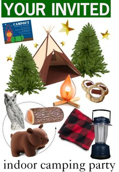 """indoor camping birthday party"" by cutandpaste ❤ liked on Polyvore"