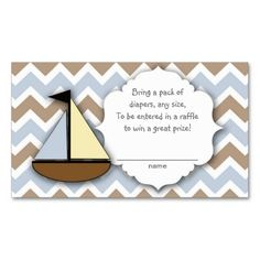 Sail Boat Diaper Raffle Tickets or insert cards Business Card