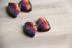 Mini Knit Hair Bow - Set of 2 Rainbow by SerbyStitches on Etsy