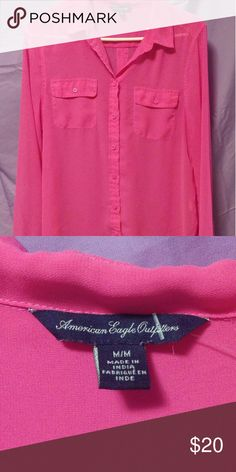 American Eagle shirt Cute pink Sheer long sleeve button up shirt. Would look great with a black tank underneath. American Eagle Outfitters Tops Button Down Shirts