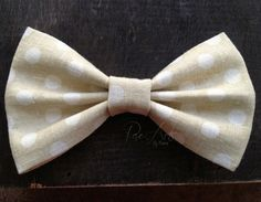 Beige Polka Dot Linen Hair Bow