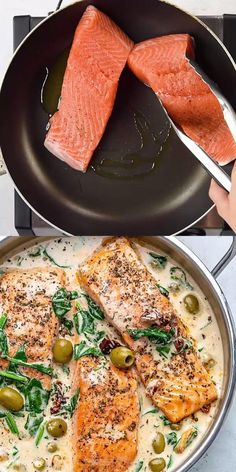 This Creamy Tuscan Salmon recipe serves up perfectly pan-seared salmon, smothered in a creamy garlic sauce, with spinach, sun-dried tomatoes, and olives – delicious! It's such a healthy and easy fish dish, perfect for weeknights. Fish Recipes, Seafood Recipes, Vegetarian Recipes, Dinner Recipes, Cooking Recipes, Baked Salmon Recipes, Seafood Dishes, Healthy Recipes With Spinach, Meals With Spinach