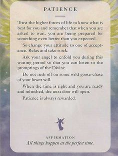 Angel Card: 04 July 2013: Patience