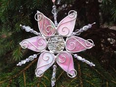 snowflake stained glass suncatcher pink home by FragmentsGlass, $20.00