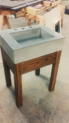 Black Walnut Vanity With Concrete Trough Sink. Handcrafted By Northeast  Furniture Studio.