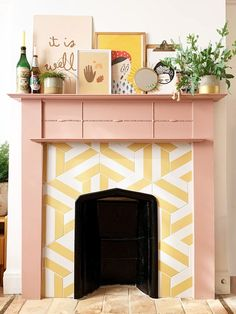 We Completely Transformed Our Fireplace Using Leftover Paint What's Decoration? Decoration may be the art of decorating the inner and … Paint Fireplace, Bedroom Fireplace, Home Fireplace, Faux Fireplace, Fireplace Design, Painted Fireplace Mantels, Fireplace Tiles, Fireplace Makeovers, Decorative Fireplace