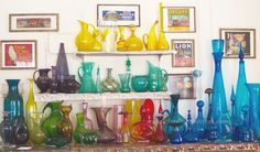 Blenko Glass, I love that this is part of my heritage (Bottle Display Kitchen Windows) Blenko Glass, Fenton Glass, My Glass, Glass Art, Colored Vases, Coloured Glass, Bottle Display, Rainbow Glass, Murano