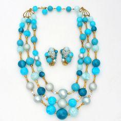 Vintage Necklace Earrings Set Aqua Blue Multi Strand Beads Rockabilly Fashion #Multistrand