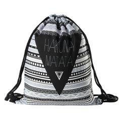 HAKUNA MATATA Mujeres geométrica Mochila impresión 3D softback mochila mujeres bolso de lazo para hombre mochilas de viaje