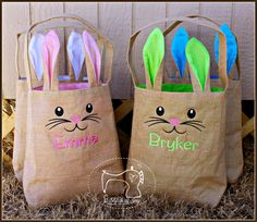 Easter Bunny Tote Bags, Personalized Easter Bunny Bags, Burlap Cotton Lined Easter Bag with Name or Monogram, Personalized Easter Bag by AStitchofJoy on Etsy