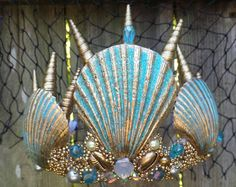 "Mermaid crown , Turquoise and gold seashell "" Arlos"" mermaid costume Arlodisarray CUSTOM ORDER ONLY Layaway Payment plan payment Seashell Crown, Seashell Art, Seashell Crafts, Mermaid Crafts, Mermaid Diy, Mermaid Crowns Diy, Mermaid Tails, Costumes Faciles, Shell Crowns"