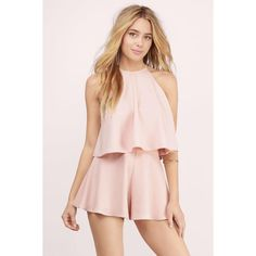 Tobi Swing On Crop Top ($36) ❤ liked on Polyvore featuring tops, blush, pink crop top, pink halter top, halter-neck crop tops, cut-out crop tops and halter crop top