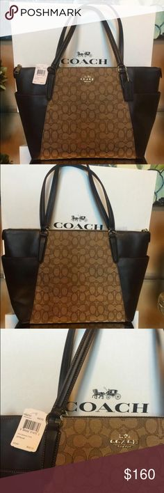 """COACH Pebbled Leather AVA II Satchel Tote 100% AUTHENTIC Brand New With Tags  Coach Ava Tote In Pebble Leather  Style: F37216  Color: Khaki/Brown  Retail Price: $325+Tax    . Pebble leather  . Inside one zip, two multifunction pockets  . Zip-top closure, fabric lining  . Two open side pockets  . Handles with 9"""" drop  . Gold hardware  . Flat bottom  . Approx.: 12 1/2"""" at the bottom---16 1/2"""" at the top (L) x 9 1/2"""" (H) x 5"""" (W Coach Bags Totes"""