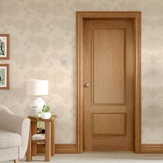 Andria Oak 2 Panel Door with Raised Mouldings - Lifestyle Image. Door Design Interior, Oak Interior Doors, Wooden Doors Interior, 2 Panel Doors, Door Fittings, Home Decor, Wood Bed Design, Oak Doors, Door Design Wood