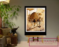 Bees and Bee Hive w Girl  Art Illustration by Dorothy by MaxRainet, $36.11