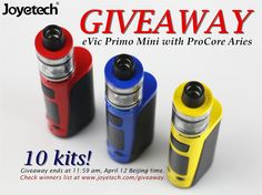 eVic Primo Mini with ProCore Aries Giveaway! 10 kits!