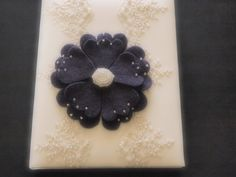Wedding Memory Album Purple Ivory Lace 80 flower colors & 50 glass bead colors available  by ArtisanFeltStudio on Etsy