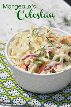 """Orig Post: I begged my friend to share her """"secret"""" recipe for THE BEST coleslaw that you will ever have! It's perfect for picnics, cookouts, and potlucks! Side Recipes, Great Recipes, Dinner Recipes, Favorite Recipes, Restaurant Recipes, Easy Coleslaw Dressing, Coleslaw Mix, Creamy Coleslaw, Cooking Recipes"""