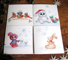 Pack of 4 beautiful Christmas cards cute by SproutymouseDoodles