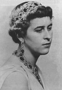 Princess Sophie of Greece and Denmark. The daughter of Prince Andrew of Greece and Princess Alice of Battenberg, the sister of Prince Philip, Duke of Edinburgh. She wed Prince Christoph of Hesse in 1930. He died in 1943. In 1946 she married Prince George William of Hanover.