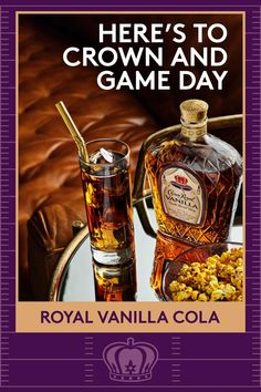 Meet your game day lineup. Crown Royal Vanilla and cola are the only players you need. Combine 1.5 oz Crown Royal Vanilla and 4 oz Cola in a glass over ice. Mango Recipes, Sweet Recipes, Balderdash Board Game, Ender's Game Book, Tabletop Arcade Games, Survival Kit Gifts, Survival Gear, Bolo Diet, Game Truck Party
