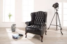 Edler chesterfield ohrensessel in schwarz modell queen for Sessel queen