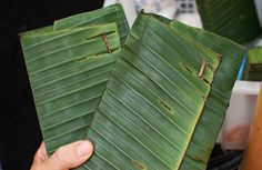 Tempeh in banana leaves instead of plastic!!! #eco #packaging