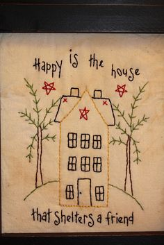 Happy is the house Embroidery Monogram, Vintage Embroidery, Embroidery Applique, Cross Stitch Embroidery, Embroidery Designs, Sewing Crafts, Sewing Projects, Felted Wool Crafts, Thread Art
