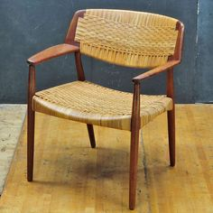 Ejner Larsen and Aksel Bender Madsen; Teak and Cane Armchair by Willy Beck, 1950s.