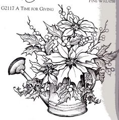 Coloring Pages - Poinsettias and Holly in Can Christmas Drawing, Christmas Paintings, Christmas Coloring Pages, Coloring Book Pages, Christmas Colors, Christmas Art, Quilling Patterns, Doily Patterns, Dress Patterns