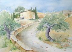 Tuscany Impressions 2007 Source by Watercolor Landscape Paintings, Watercolour Painting, Landscape Art, Aqua Paint, Art Impressions, Art Drawings Sketches, Impressionism, Tuscany, Pictures