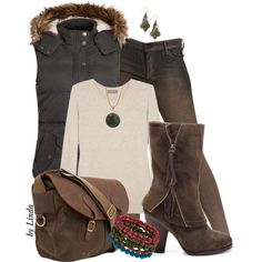 Brown & Olive Green Fall Outfit, created by lindakol on Polyvore