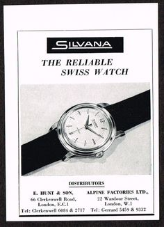 Small Vintage 1957 Silvana Watch Co Paper Print Ad. Modern Watches, Vintage Watches, Watches For Men, Watch Drawing, Art Deco Watch, Watch Ad, Print Ads, Vintage Ads, Omega Watch