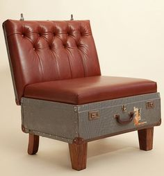 reuse old suitcases as red leather armchair diy recycling ideas