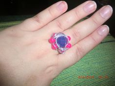 Anel pedras rosa e roxo