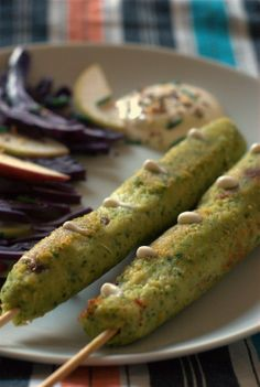 vegan and gluten free *** beans kebabs with homemade soy mayo