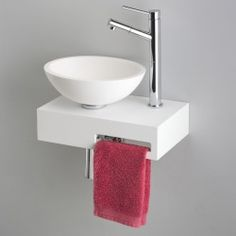 Teeny tiny sink with towel holder! Bathroom Storage Over Toilet, Bathroom Under Stairs, Small Toilet Room, Bathroom Countertop Design, Bathroom Interior Design, Interior Design Living Room, Lave Main Design, Wc Design, Wash Basin Cabinet