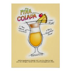 "18"" X 24"" POSTER - PINA COLADA RECIPE COCKTAIL ART with mixing directions!"
